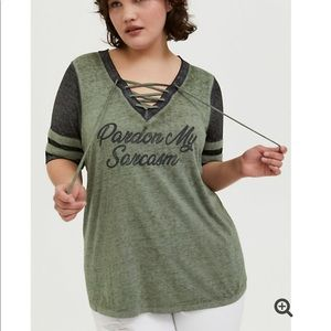 Torrid SARCASM LIGHT OLIVE GREEN LACE-UP TEE